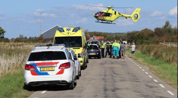 Tiener ernstig gewond bij botsing auto-fiets.
