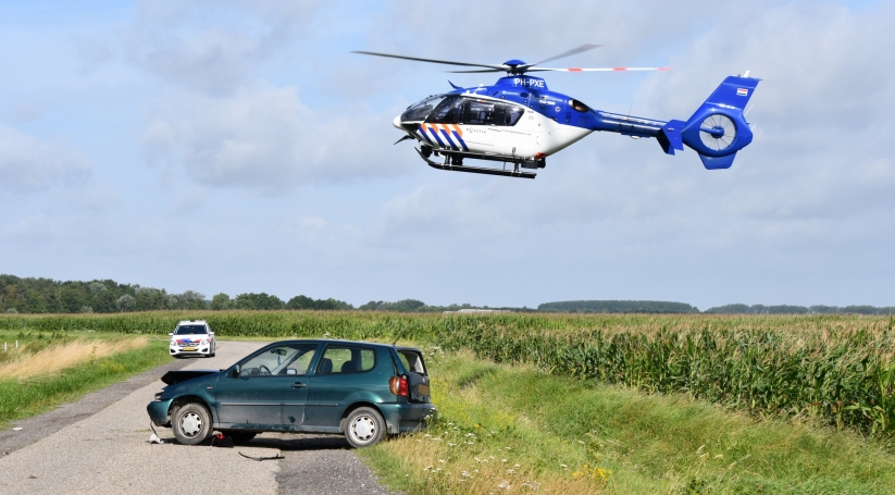 Politiehelikopter maakt laatste zoekslag voor ongeluk Hoek.