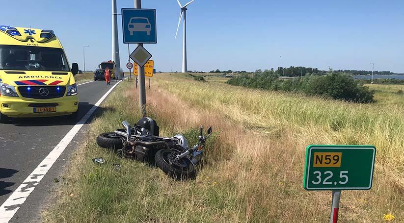 Motorrijder gewond bij ongeluk N59 Bruinisse.