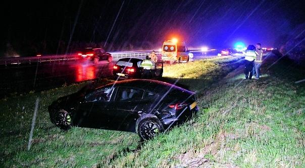 Weer ongeluk op A58 door hagelbui.